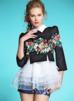 Black Three Quarter Sleeve Floral Two Pieces Ruffle Blouse EUR€28.79