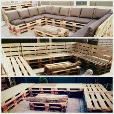 Loungebank gemaakt van pallets