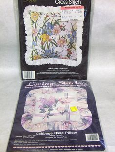 Items similar to Cross Stitch Pillow Kits: Karen's Kreations 'Cabbage Rose Pillow' Soft Peach Golden Bee 'Ducks Floral Pillow' on Etsy Cross Stitch Pillow, Cabbage Roses, Floral Pillows, Pillow Forms, Cross Stitch Patterns, Decorative Boxes, Bee, Peach, Lilacs