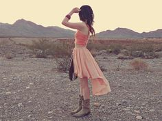 High low skirt with boots