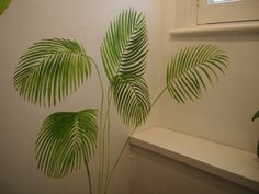 Palm leaves as part of mural of tropical victorian glasshouse plants in the toilet! By Sally Hancox, based in London, UK Victorian Greenhouses, Shed Doors, Kew Gardens, Glass House, Toilet, Plant Leaves, Palm, Environment, Tropical