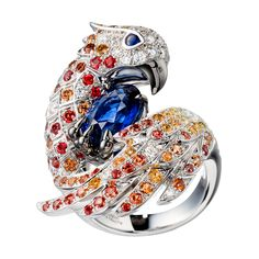 Lady Hawke Ring, a Maison Boucheron Jewelry creation - ring set with blue, orange and yellow sapphires.