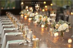 Sparkle & shine comes together fabulously for these reception tables at Saratoga National. Photo Credit - Tiffany Wayne