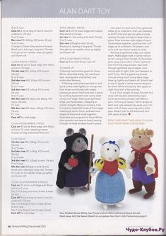 Animal Knitting Patterns, Crochet Dolls Free Patterns, Stuffed Animal Patterns, Crochet Toys, Knitting Projects, Crochet Projects, Alan Dart, Simply Knitting, Little Cotton Rabbits