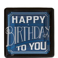 """The message """"Happy Birthday to You"""" in blue, silver, and white vintage script won't hide under that dessert for long. Happy Birthday Classic Dessert Plates accommodate ice cream, cake, and your go-to party favor flavors. Happy Birthday Best Friend, Happy Birthday Funny, Happy Birthday Gifts, 60th Birthday Party, Happy Birthday Quotes, Birthday Wishes, Birthday Ideas, Birthday Cards, Birthday Pins"""