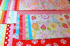 4.5 Yards of Assorted Bright Fabric Strips  by 44thStreetFabric, $49.45