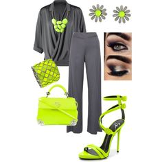 Gray and lime by rowe-gal on Polyvore featuring polyvore, fashion, style, Repeat, Oscar de la Renta, Giuseppe Zanotti, Philipp Plein, Betsey Johnson, Blu Bijoux, neon, Trendy and colorsplash