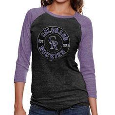 Colorado Rockies Ladies Tri-Blend Jersey Three-Quarter Sleeve Raglan T-Shirt - Heathered Black/Purple