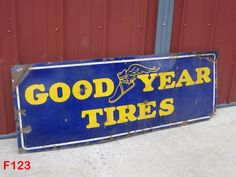 VINTAGE PORCELAIN GOODYEAR TIRE TIRES SIGN ADVERTISEMENT RARE OLD PIECE AWESOME #GoodyearTires