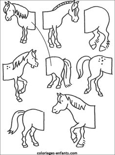 cycle 1 Hl Martin, Tracing Pictures, Art For Kids, Crafts For Kids, Horse Coloring Pages, Horse Camp, Horse Crafts, Farm Theme, Animal Books