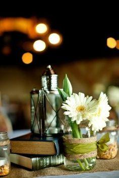 book and lantern centerpieces | Lantern, Book, and Mason Jar Centerpieces. ... | Tiger Lily/Barn Wedd ...