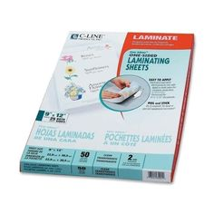 "c-line products, inc. laminating sheets, nonglare, 9""x12"", 50/bx, clear sheets"