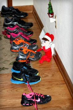 Elfie tied all of our shoes together!