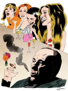 """Though """"The Sopranos"""" may have sparked the bad-boy revolution of cable TV, Carrie Bradshaw was the first female anti-hero. Illustration by Andy Friedman."""