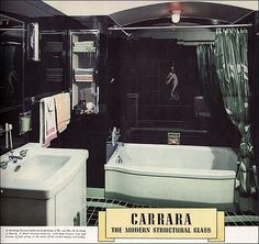 Carrara Structural Glass. 1937   Source: House & Garden Image from the  Antique Home & Style collection.