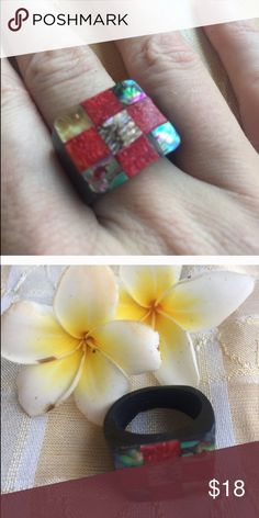 Last one! Coral abalone checker square ring Handmade in bali gorgeous red coral and abalone checker ring size 6/7 on lacquered coco wood. Unique and beautiful inlay design! handmade Jewelry Rings