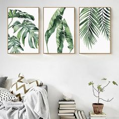 Classy Bedroom Wall Decor Ideas to Style Up Your Space - The Trending House Bedroom Posters, Bedroom Wall, Bedroom Canvas, Bed Room, Leaf Wall Art, Wall Art Decor, Leaf Art, Green Wall Decor, Green Wall Art