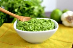 Cilantro pesto- I would have to leave out the almonds as I am allergic, but this looks like it would feed my Pesto addiction quite nicely!