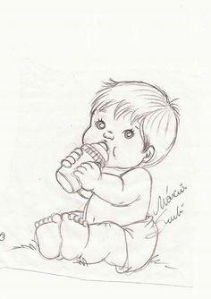 Risco Art Drawings Sketches Simple, Girl Drawing Sketches, Baby Drawing, Pencil Art Drawings, Cute Drawings, Baby Coloring Pages, Coloring Books, Baby Sketch, Baby Art