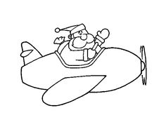 Dibujo de Santa en avión para colorear