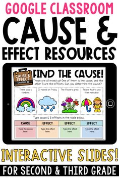 These Google Classroom cause and effect activities are perfect for 2nd grade and 3rd grade. Use these interactive slides with Google Slides for digital learning. Resources include: mysteries, graphic organizers, cause and effect reading passages, and more!