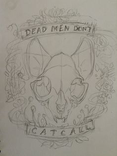 cat skull with ears tattoo concept art- BEST!! Flanked with flowers and splatter pattern, light shadowing
