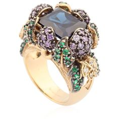 Anabela Chan Women Blueberry Ring (13,781 CAD) ❤ liked on Polyvore featuring jewelry, rings, blue, blue ring, blue jewelry, round ring and pave setting ring