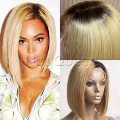 Brazilian Remy Blonde Human Hair Short Bob Hair Full Lace Wigs Lace Front Wigs #HOTQUEEN #FullWig