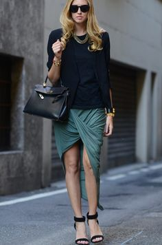 The Blonde Salad's Chiara Ferragni celebrated her 25th birthday in style wearing Alexander Wang sandals, Helmut Lang asymmetrical skirt, Myboo tee, Mango blazer, Lamprini necklace, Hermes Kelly bag and Collier de Chien bracelet, Stella McCartney sunglasses, and a Leivankash skull cuff.