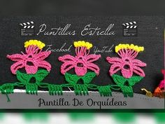 Puntilla de Orquideas - YouTube Crochet Trim, Love Crochet, Crochet Flowers, Crochet Baby, Basic Embroidery Stitches, Creative Embroidery, Crochet Stitches, Crochet Borders, Crochet Patterns