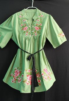 Green Mexican Style Women Shirt Blouse Top Tshirt by myuniverse, $29.90
