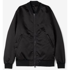ACNE STUDIOS Selo Light Bomber ($600) ❤ liked on Polyvore featuring men's fashion, men's clothing, men's outerwear, men's jackets and black