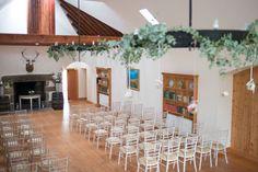 The fireplace room at Aswanley Rustic Wedding Inspiration, Wedding Ideas, Barn Renovation, Beams, Summer Wedding, Table Decorations, Elegant, Room, Beautiful