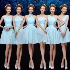 Find More Information about Sky Blue Bridesmaid Dresses Mixed Styles Chiffon…