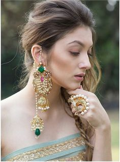 From proper to present-day, features jewelry design for each woman. You certainly will love our necklaces, bracelets, rings plus much more. Designer Jewelry by Isharya Indian Jewelry Earrings, Jewelry Design Earrings, Indian Wedding Jewelry, Gold Jewellery, Bridal Jewelry, Silver Jewelry, Jhumki Earrings, Jewelry Clasps, India Jewelry