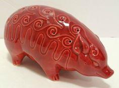 Vintage Hors D'Oeuvres Holder, Shaped Like a Red Pig, Made of Pottery, Vintage Appetizer Server Holder Toothpick Red