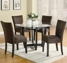 Dining Set with Round Glass Top Table