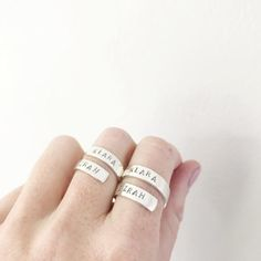 Name ring / wrap around ring / personalized ring / chunky | Etsy Chunky Silver Rings, Name Rings, Personalized Rings, Wrap Around, Hand Stamped, Gifts For Her, Handmade Jewelry, Names, Inspirational