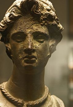 Etruscan priestess wearing a torq, bronze  votive statue  200-100 BCE