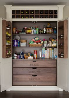 Mind-blowing Kitchen Pantry Design Ideas for Your Inspiration really-functional-food-pantry-cabinet - Kitchen Pantry Cabinets Designs Kitchen Cupboard Organization, Pantry Cupboard, Pantry Shelving, Kitchen Pantry Design, Kitchen Pantry Cabinets, Pantry Storage, Kitchen Storage, Kitchen Ideas, Kitchen Decor