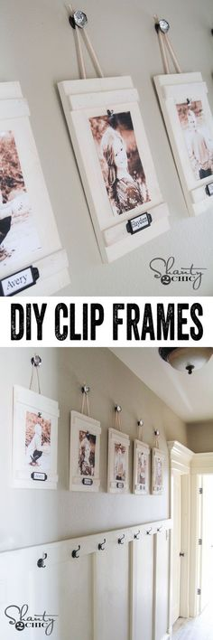 Me encantó, Love it, with the picture and frame and then a hook to put the things when they get home like the backpack. SIMPLE Clip Frame Tutorial by So cheap too! Hanging Frames, Diy Hanging, Hanging Photos, Diy Clip Frame, Cadre Photo Diy, Diy Photo, Photo Art, Cheap Home Decor, Diy Home Decor