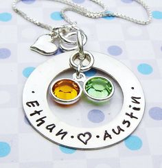 Hand stamped necklace  mother silver charm necklace by ArtOfSilver, $52.00