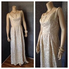 046fa2638ad5 Late 50s, 1960s Stunning Sequined Emma Domb Evening Gown, Rhinestones,  Pearls, Low