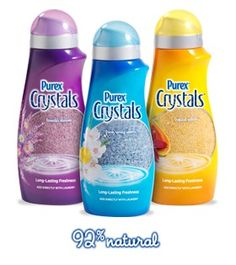 Purex Crystals. I add one Blue Bottle to my homemade laundry soap recipe and the fragrance LAST and LAST !   1 box 20 Mule Borax, 1 Box Washing Soda, 1 Large Box Baking Soda, 1 tub Dirty Jobs (like Oxi Clean), 9 bars Fels-Naptha soap (grated).  You only need to use 2 tablespoons per large load.