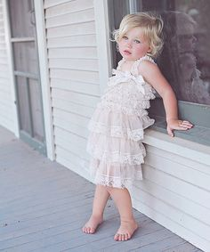 Loving this Beige Lace Ruffle Dress - Infant & Toddler on #zulily! #zulilyfinds