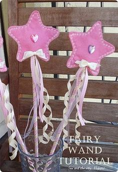 sew and the city: Birthday Party - part 2 - fairy wands tutorial Fairy Birthday Party, Diy Birthday, Birthday Parties, Fairy Crafts, Felt Crafts, Fairy Costume Diy, Diy For Kids, Crafts For Kids, Princess Wands