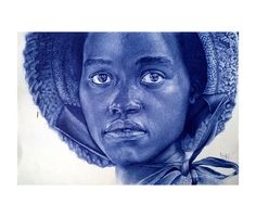 A ballpoint pen drawing of the starred actress Lupita Nyong'o