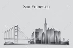 Illustration of San Francisco city skyline silhouette in grayscale, vector illustration vector art, clipart and stock vectors. San Francisco Tattoo, San Francisco City, San Francisco California, San Francisco Skyline, Cityscape Silhouette, Building Silhouette, Skyline Tattoo, City Drawing, Diy Wall Art