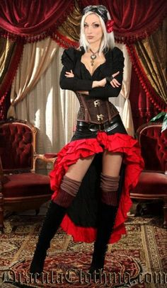 Black and Red Vex Skirt--Dracula Clothing