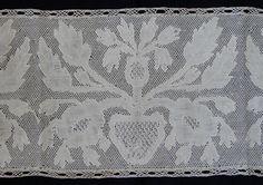 Maria Niforos - Fine Antique Lace, Linens & Textiles : Early Lace # LA-137 Circa 1700's, Rare Potten Kant w/ Flowers & Urns